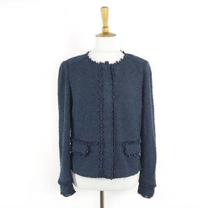 Rebecca Taylor navy blue knit blazer jacket, sz 12